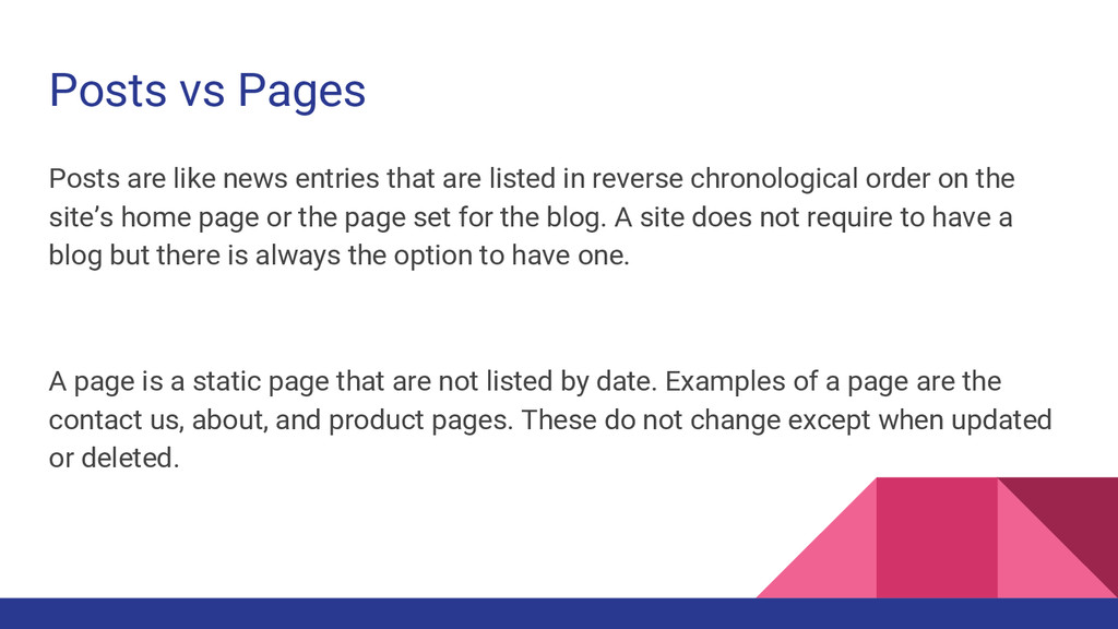 Posts vs Pages Posts are like news entries that...