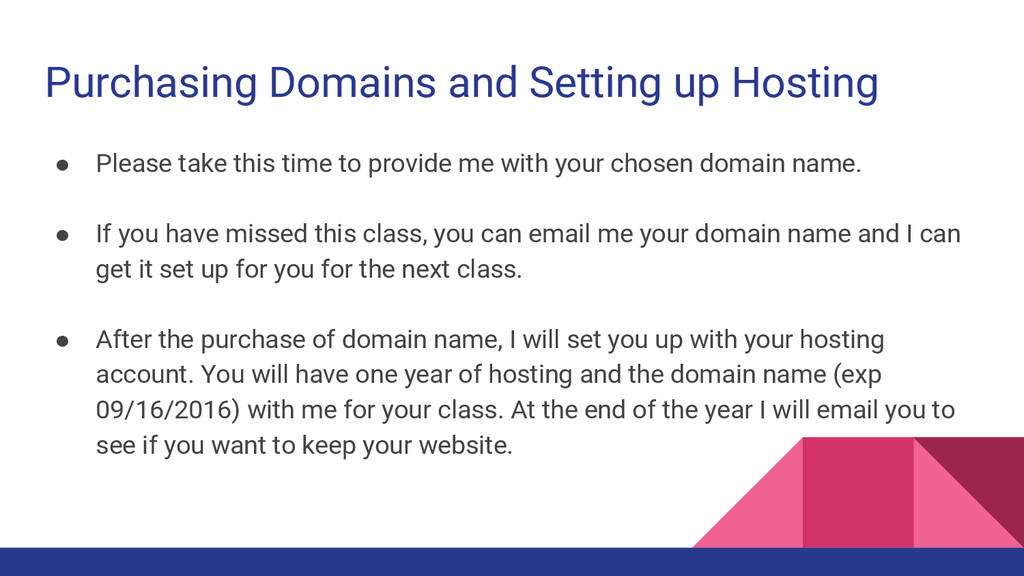 Purchasing Domains and Setting up Hosting ● Ple...
