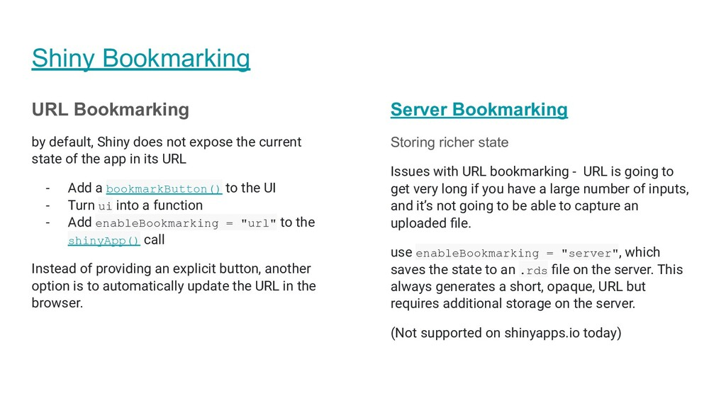 Shiny Bookmarking URL Bookmarking by default, S...