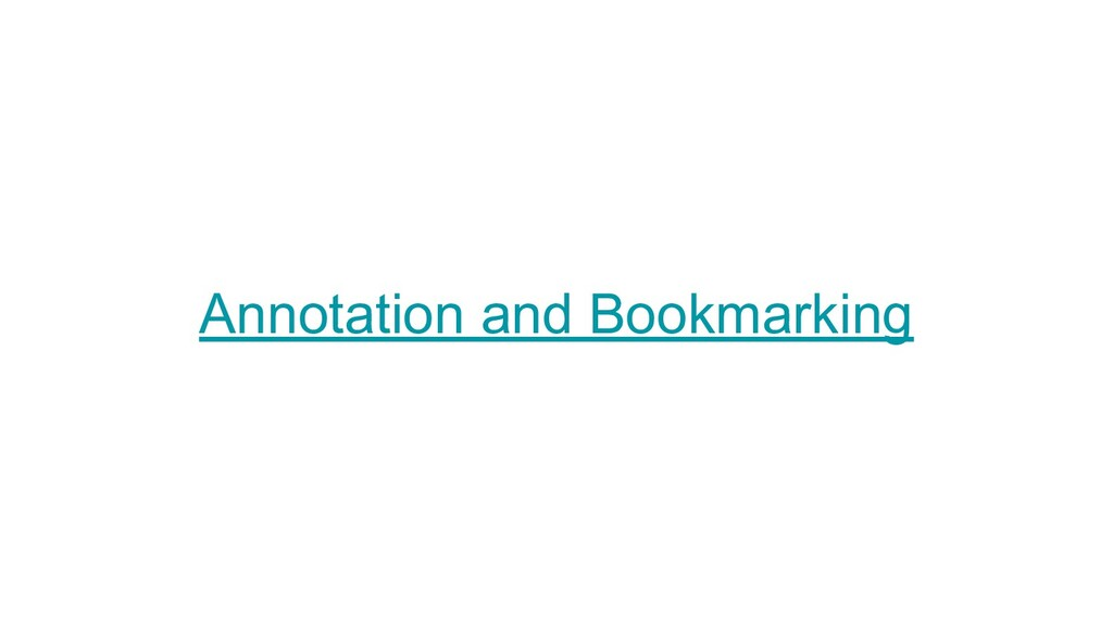 Annotation and Bookmarking
