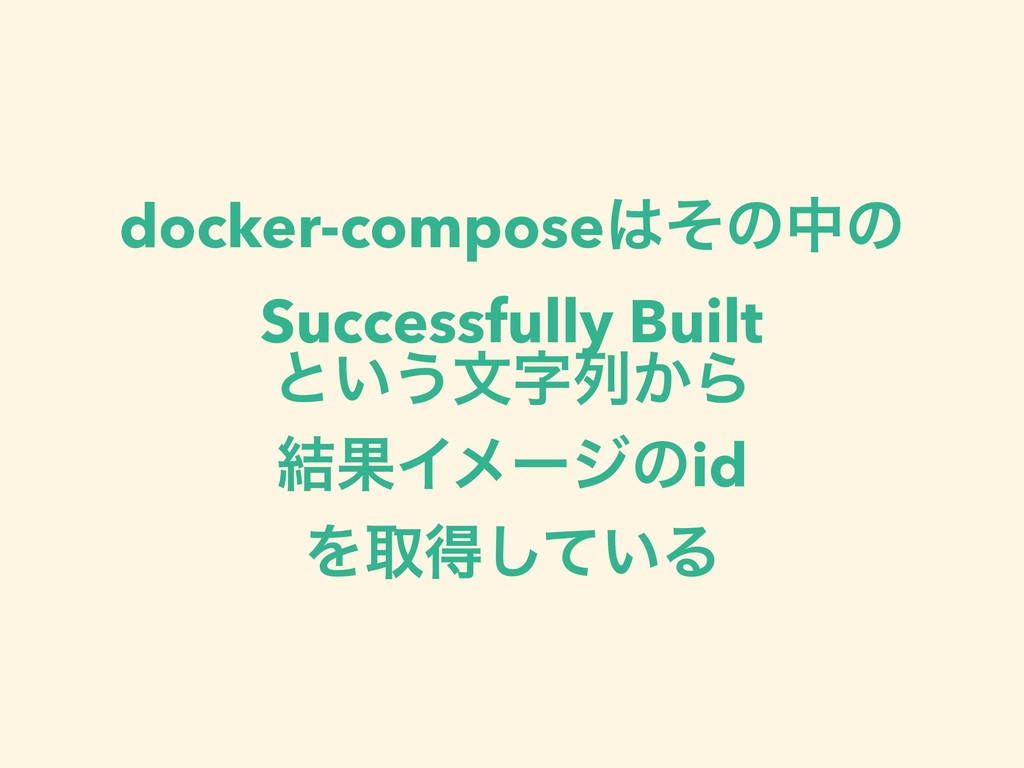 docker-composeͦͷதͷ Successfully Built ͱ͍͏จྻ͔Β...