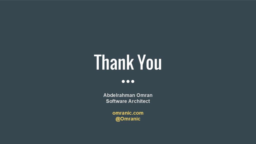 Thank You Abdelrahman Omran Software Architect ...