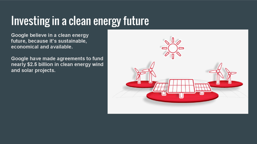 Investing in a clean energy future Google belie...