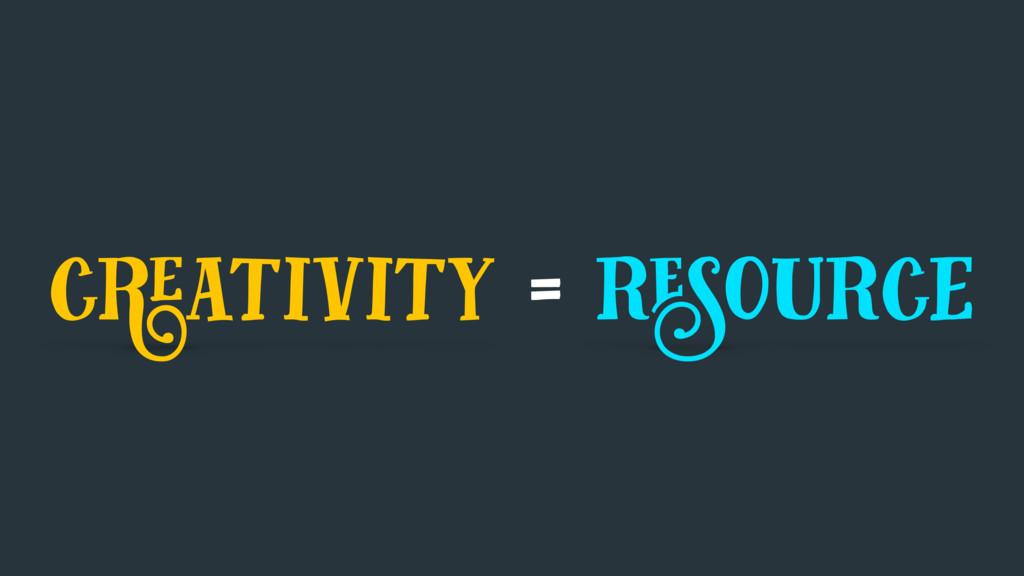 creativity = resource