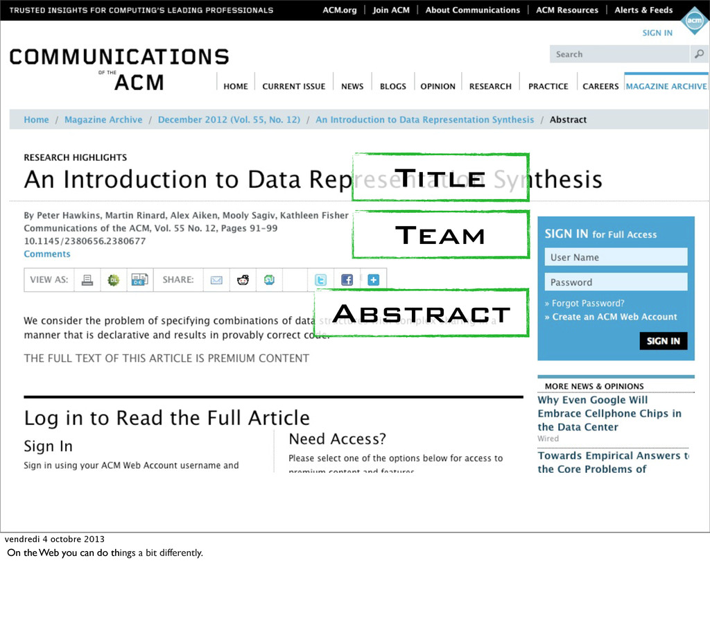 Title Team Abstract vendredi 4 octobre 2013 On ...