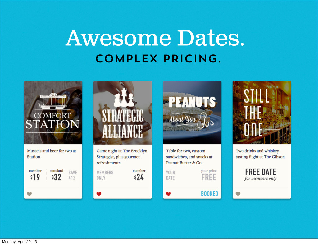 Awesome Dates. COMPLEX PRICING. Monday, April 2...