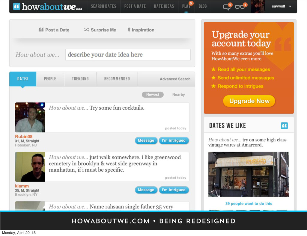 HOWABOUTWE.COM • being redesigned Monday, April...
