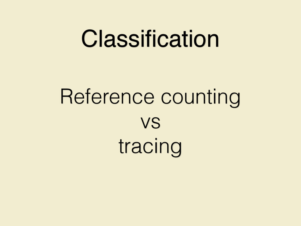 Reference counting vs tracing Classification