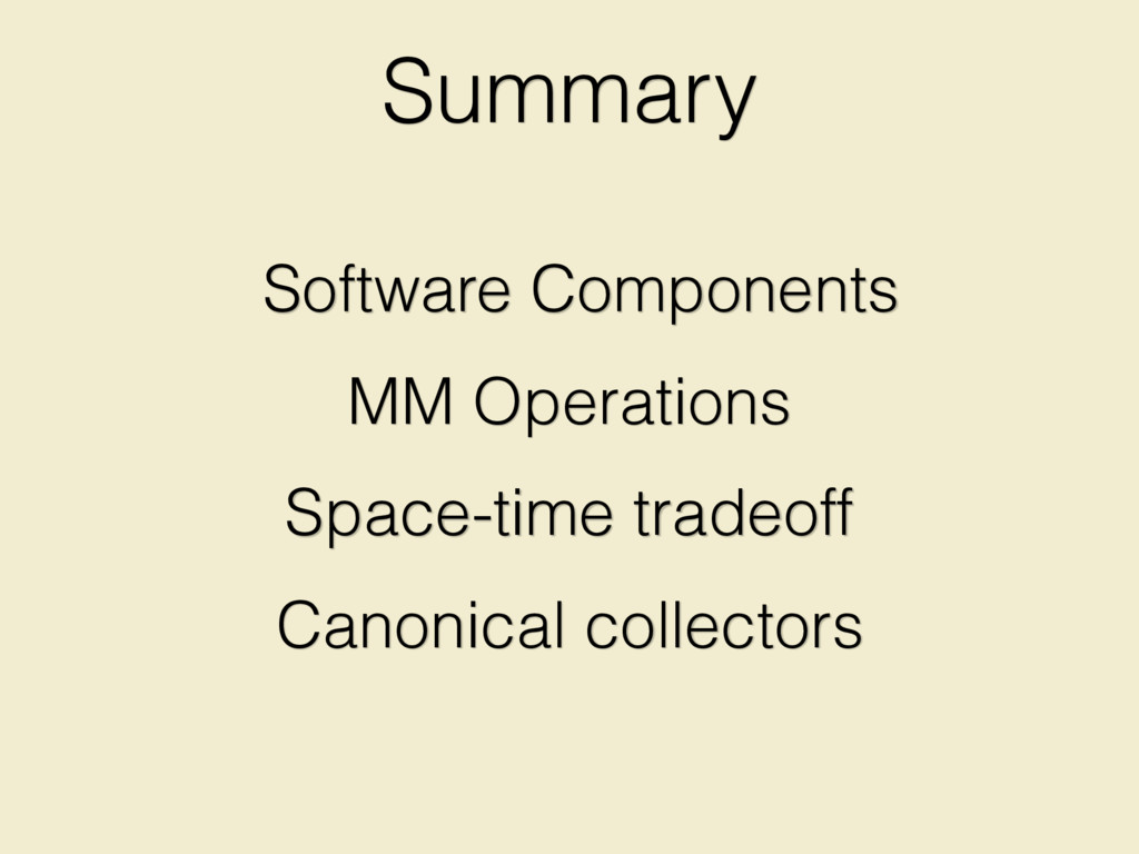 Summary Space-time tradeoff Canonical collector...