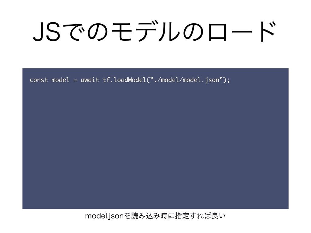 """+4ͰͷϞσϧͷϩʔυ const model = await tf.loadModel(""""...."""