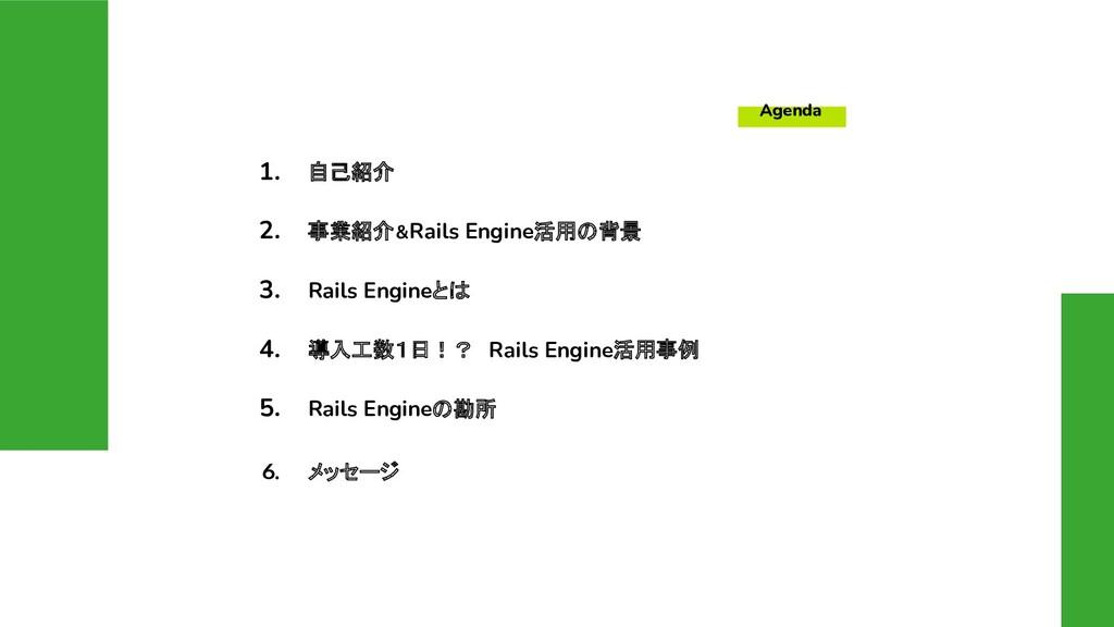 Agenda 1. 自己紹介 2. 事業紹介&Rails Engine活用の背景 3. Rai...