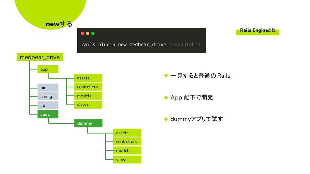 newする 一見すると普通のRails App 配下で開発 dummyアプリで試す asset...