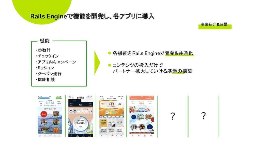 ・歩数計 ・チェックイン ・アプリ内キャンペーン ・ミッション ・クーポン発行 ・健康相談 ?...