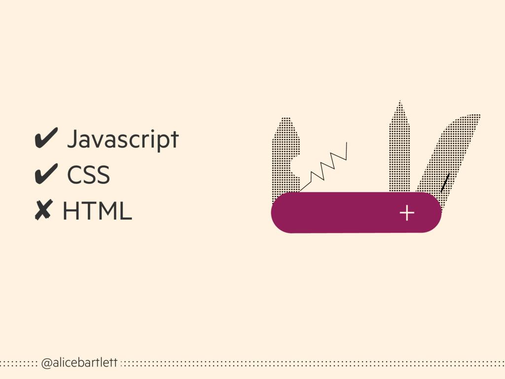 @alicebartlett ✔ Javascript ✔ CSS ✘ HTML