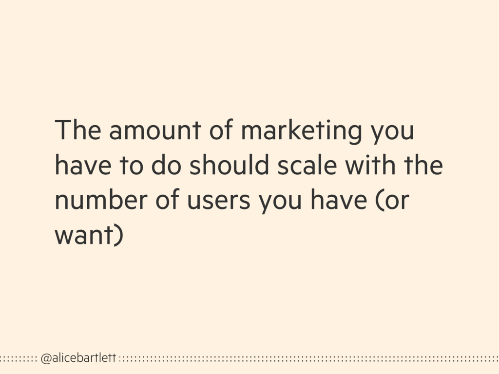 The amount of marketing you have to do should s...