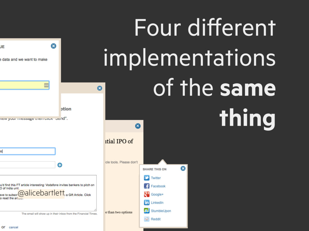 @alicebartlett Four different implementations o...