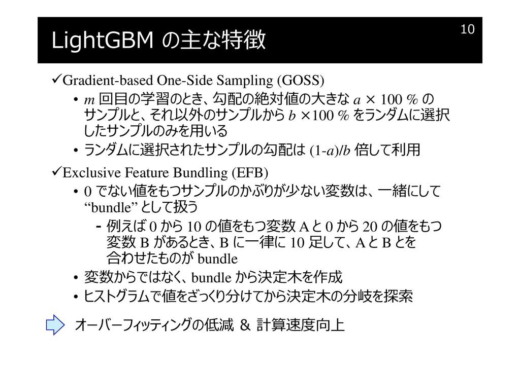 LightGBM の主な特徴 Gradient-based One-Side Samplin...