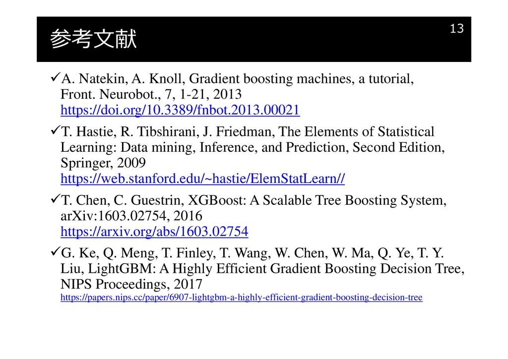 参考文献 A. Natekin, A. Knoll, Gradient boosting m...