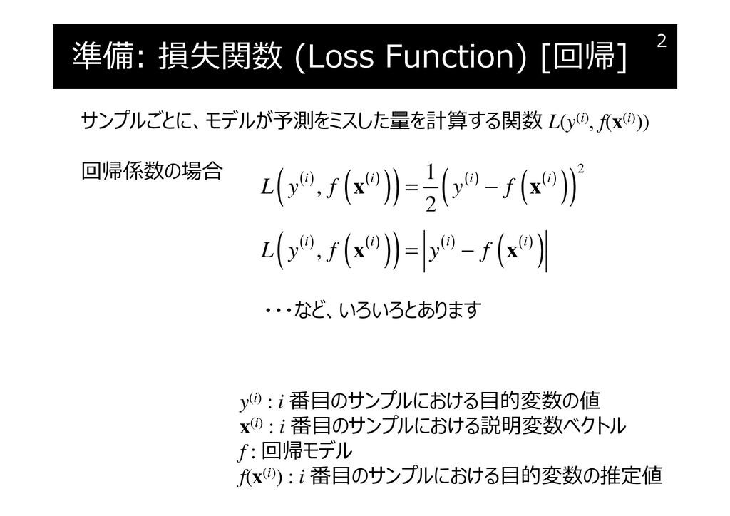 準備: 損失関数 (Loss Function) [回帰] 2 サンプルごとに、モデルが予測を...