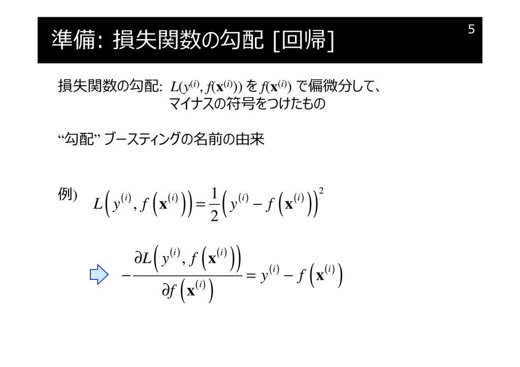 準備: 損失関数の勾配 [回帰] 5 損失関数の勾配: L(y(i), f(x(i))) を ...