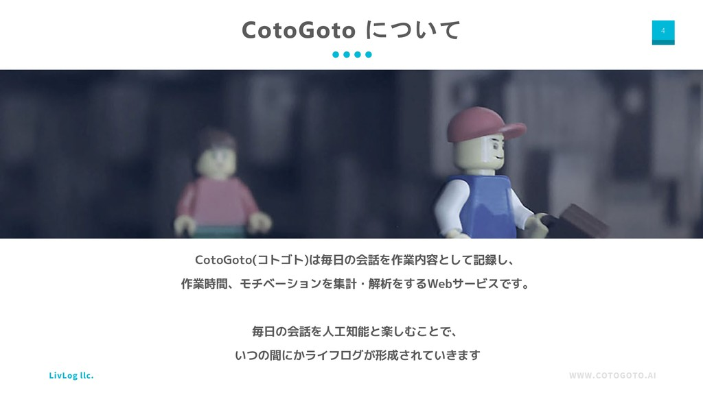 WWW.COTOGOTO.AI LivLog llc. 4 CotoGoto について Cot...