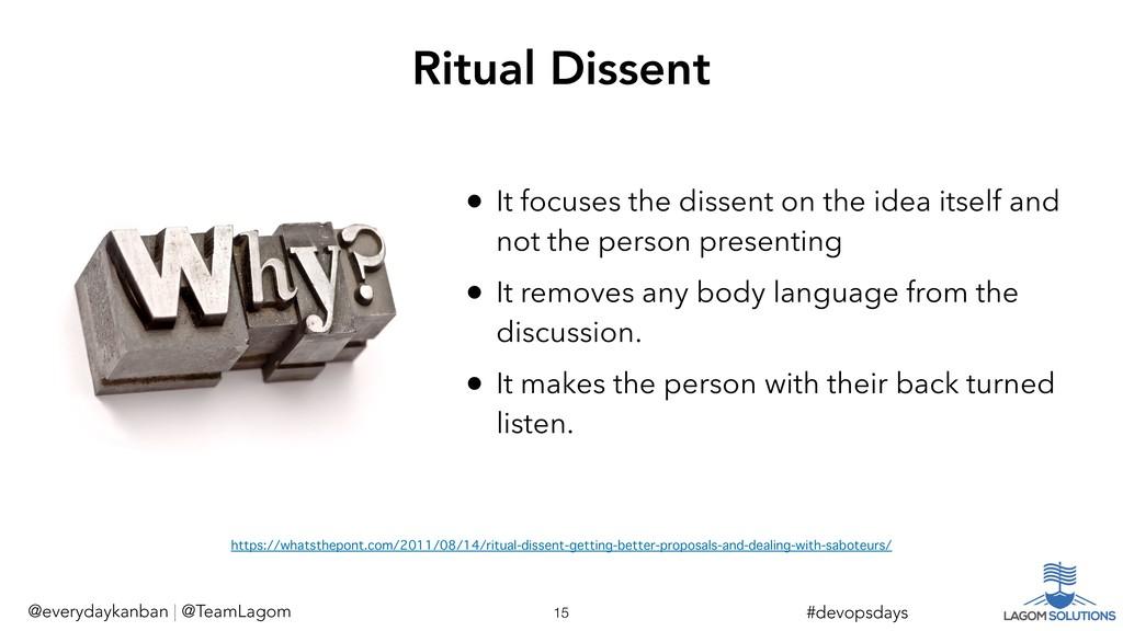 !15 #devopsdays Ritual Dissent @everydaykanban ...