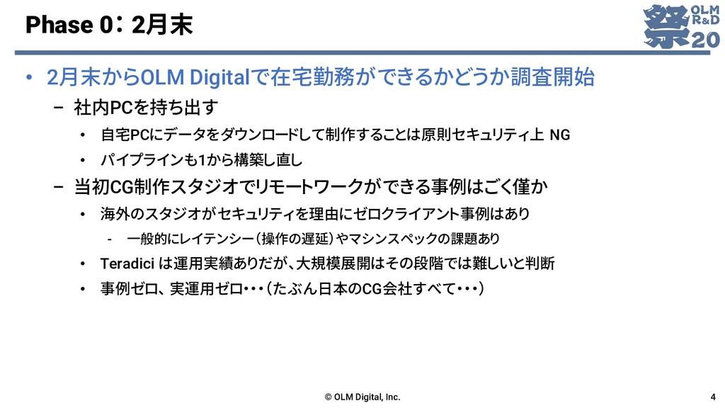 Phase 0: 2月末 • 2月末からOLM Digitalで在宅勤務ができるかどうか調査開...