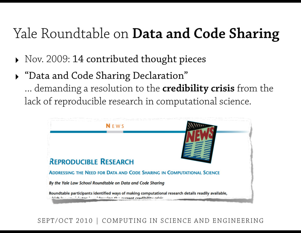 Yale Roundtable on Data and Code Sharing ‣ Nov....
