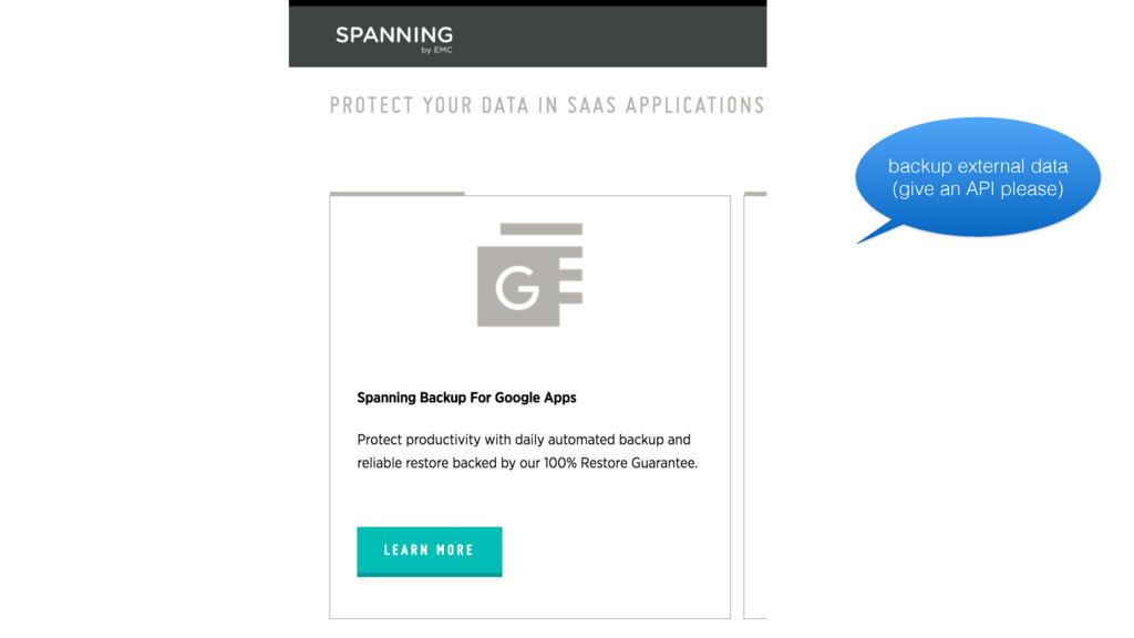 backup external data (give an API please)
