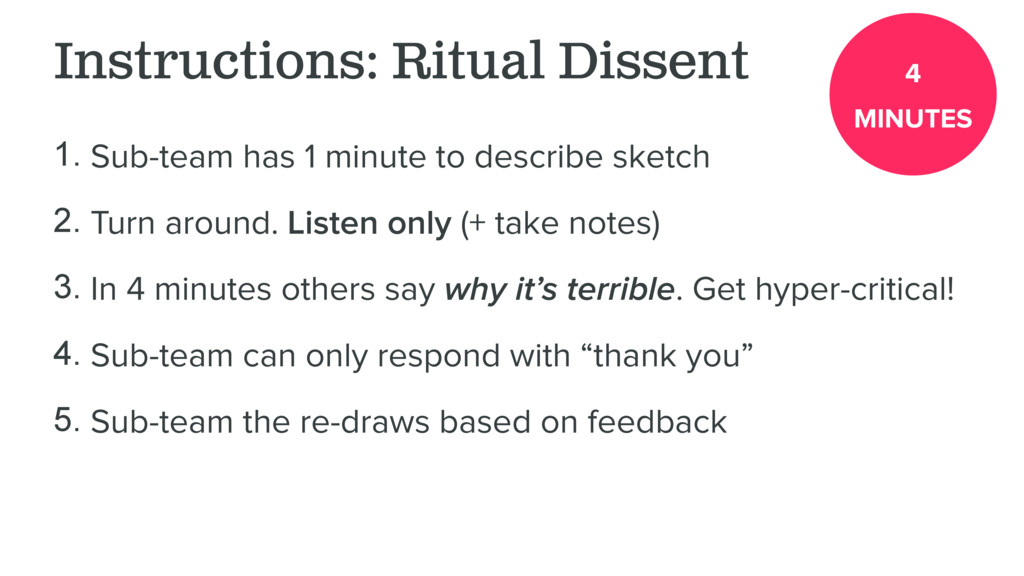 Instructions: Ritual Dissent 1. Sub-team has 1 ...