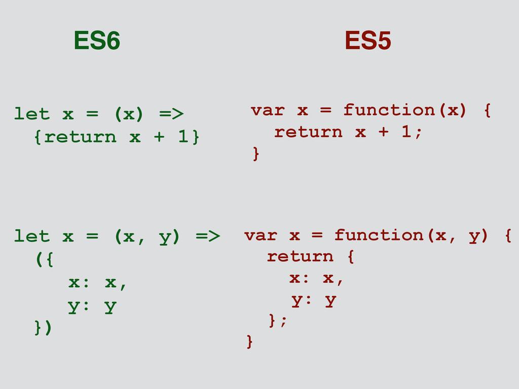let x = (x) => {return x + 1} var x = function(...