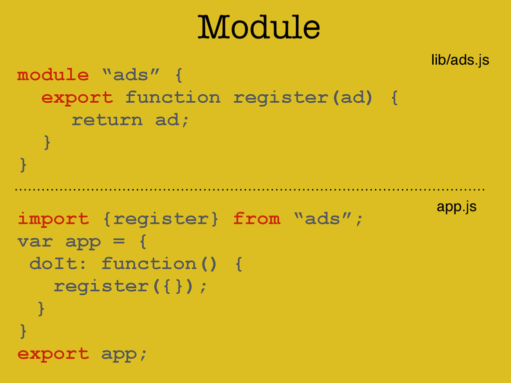 "Module ! module ""ads"" { export function registe..."