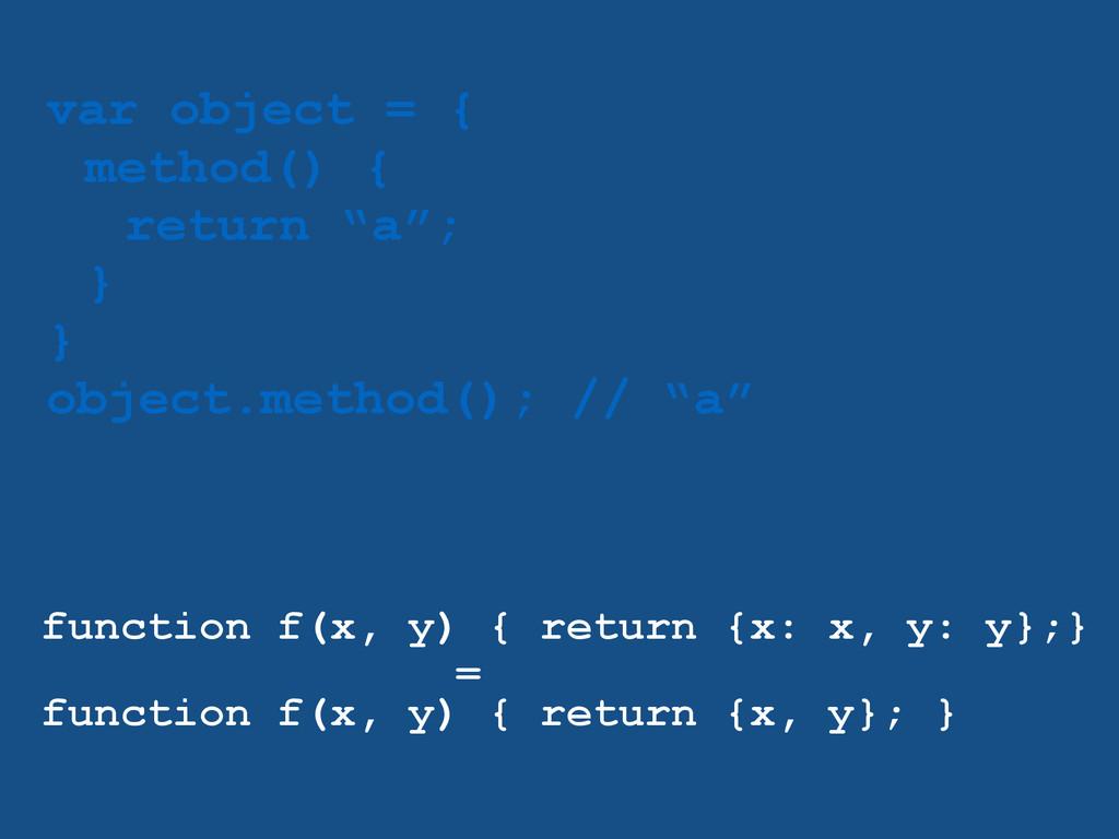 "var object = { method() { return ""a""; } } objec..."