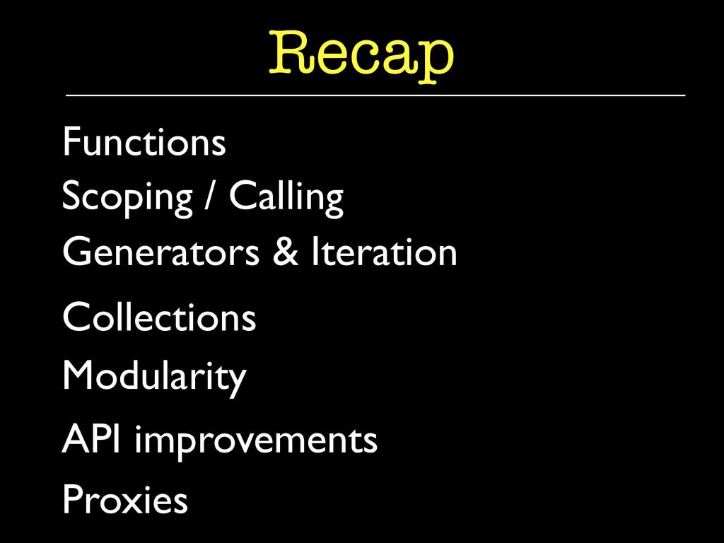 Generators & Iteration  Recap Functions  Co...