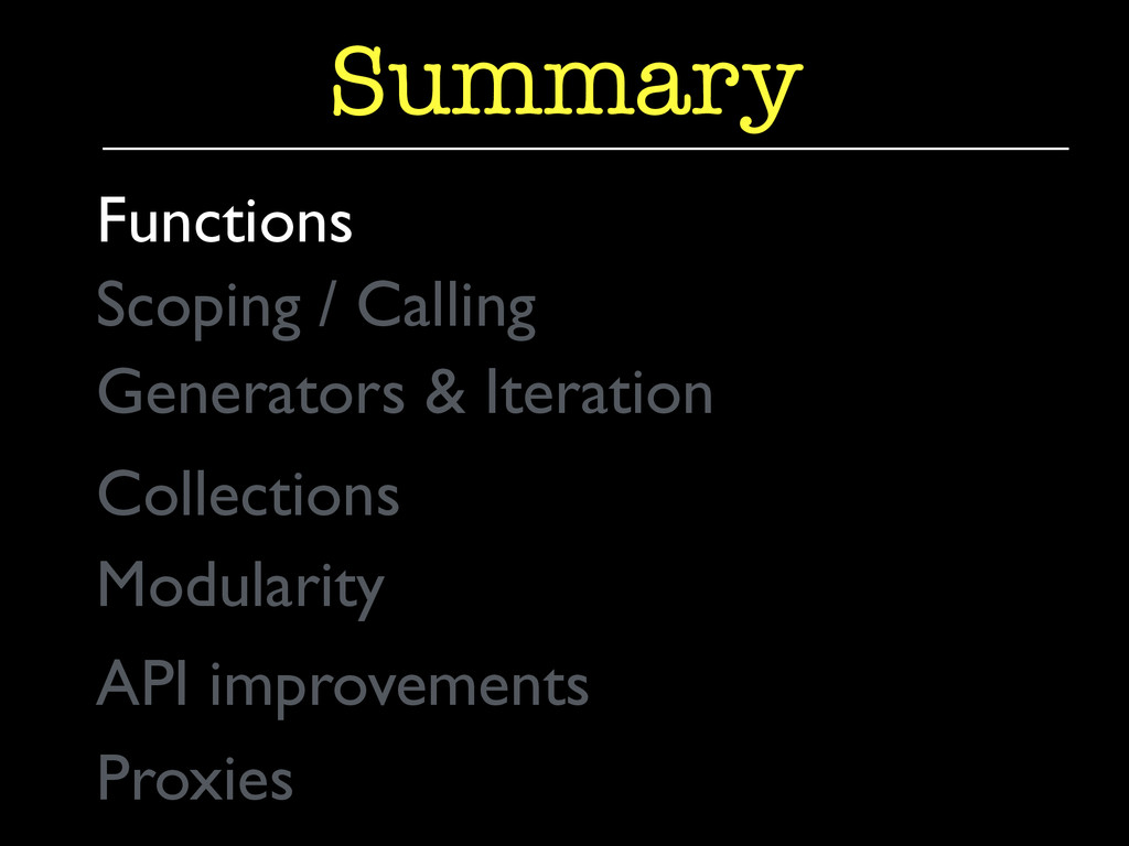 Generators & Iteration  Summary Functions  ...