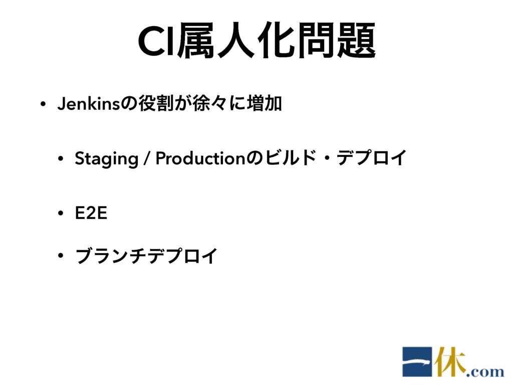 CIଐਓԽ • Jenkinsͷׂ͕ঃʑʹ૿Ճ • Staging / Producti...