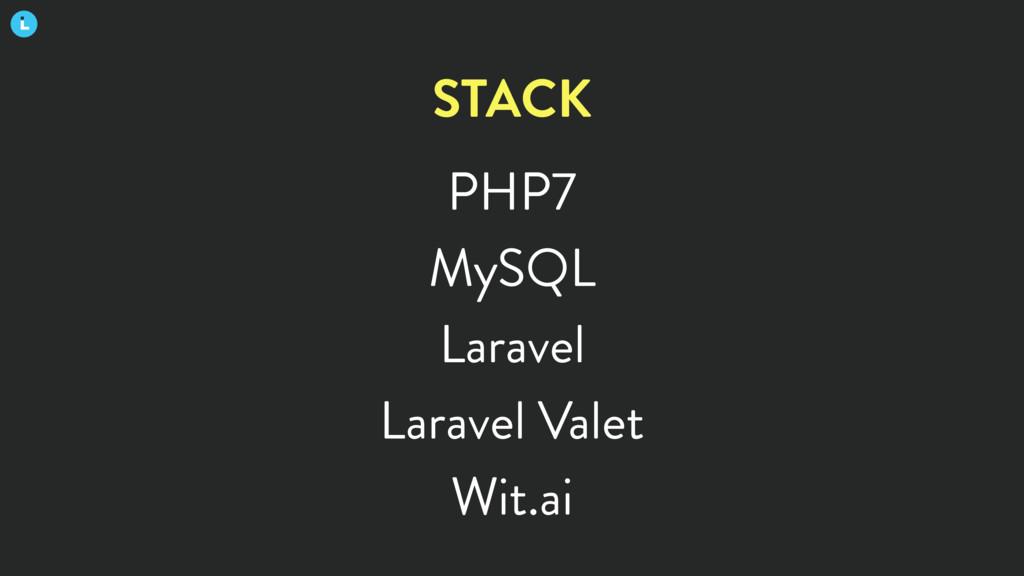 PHP7 MySQL Laravel Laravel Valet Wit.ai STACK