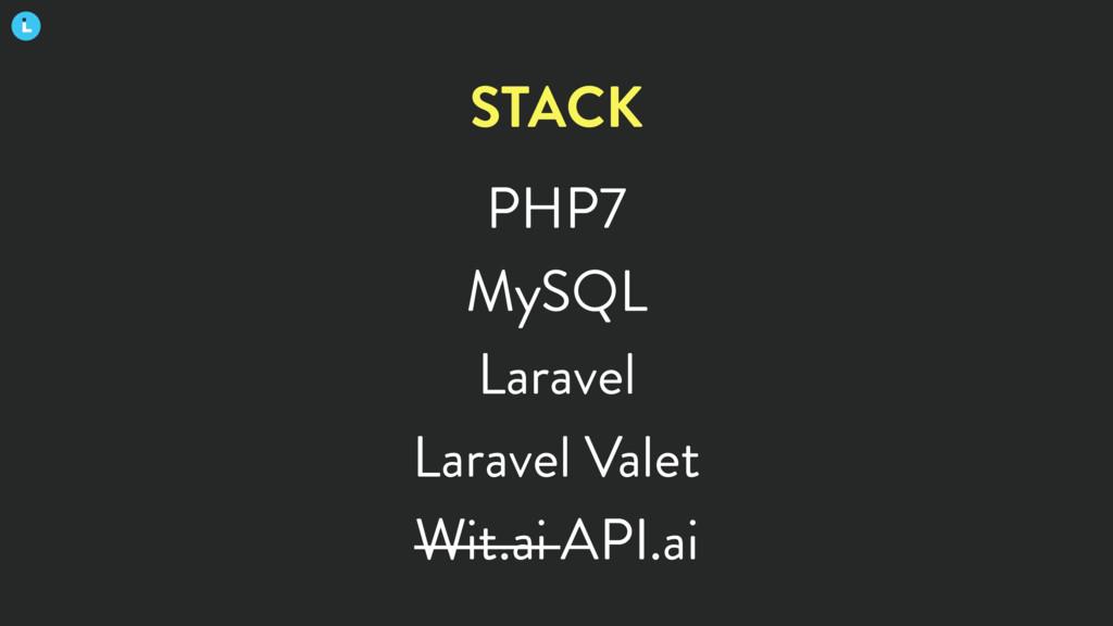 PHP7 MySQL Laravel Laravel Valet Wit.ai API.ai ...