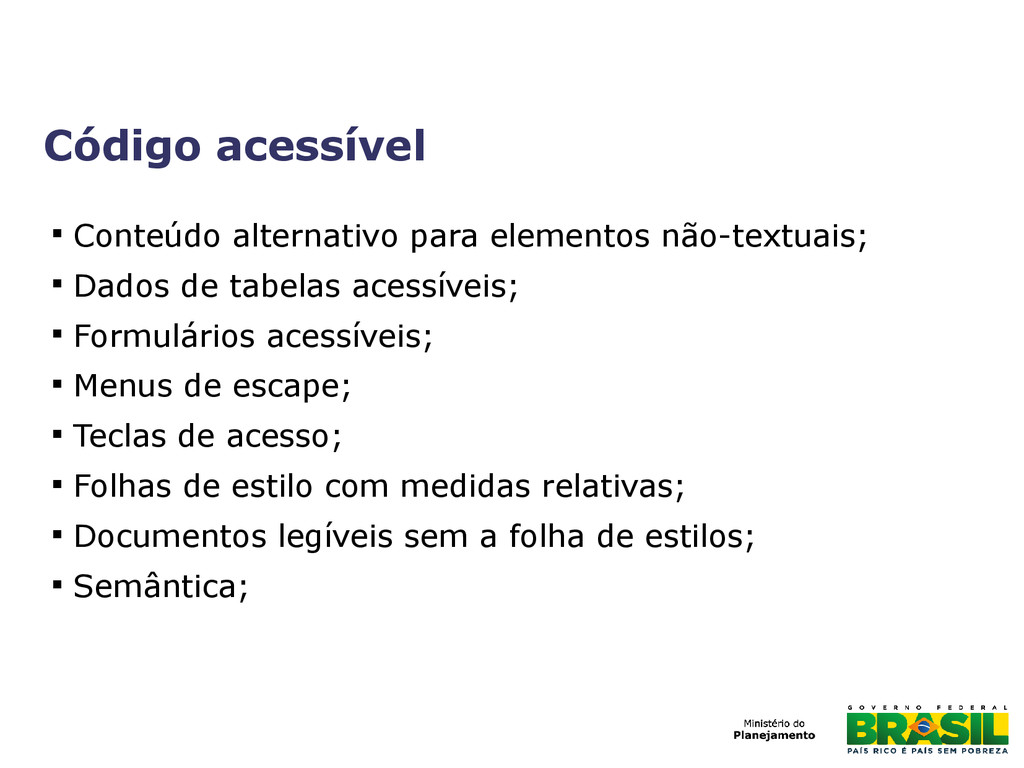 Código acessível  Conteúdo alternativo para el...