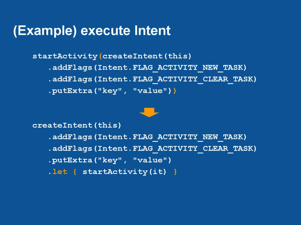 (Example) execute Intent startActivity(createIn...