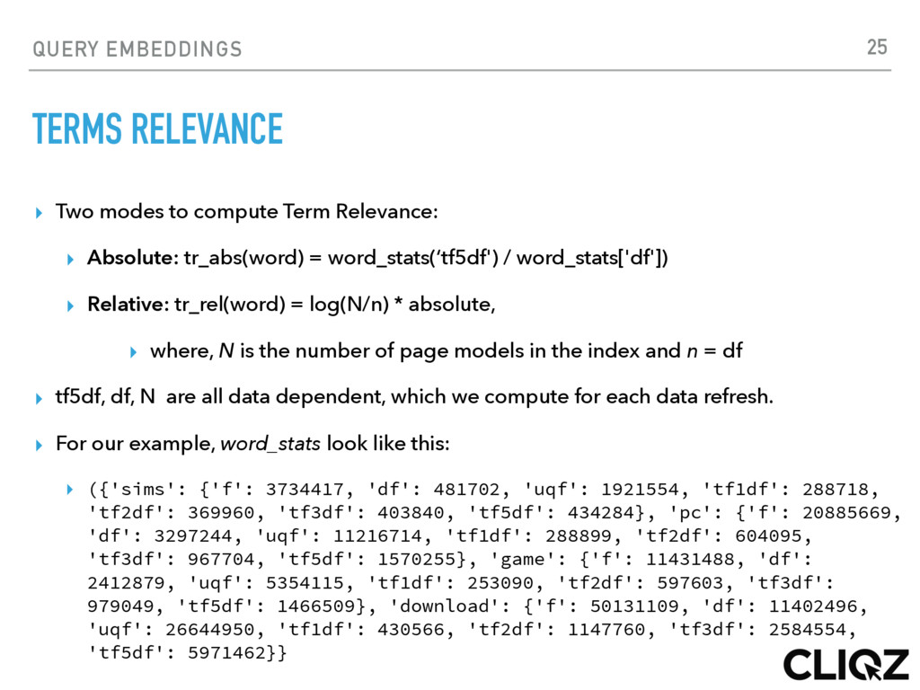 QUERY EMBEDDINGS TERMS RELEVANCE ▸ Two modes to...