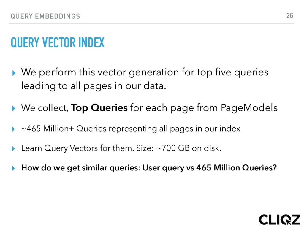 QUERY EMBEDDINGS QUERY VECTOR INDEX ▸ We perfor...