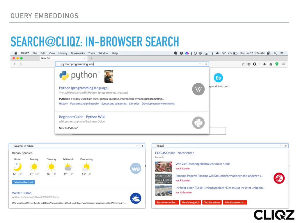 QUERY EMBEDDINGS SEARCH@CLIQZ: IN-BROWSER SEARCH