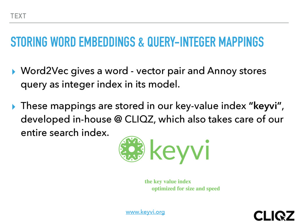 TEXT STORING WORD EMBEDDINGS & QUERY-INTEGER MA...