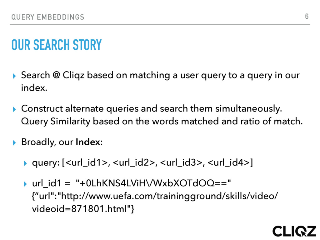 QUERY EMBEDDINGS OUR SEARCH STORY ▸ Search @ Cl...