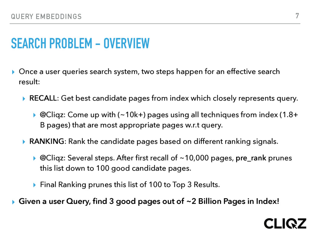QUERY EMBEDDINGS SEARCH PROBLEM - OVERVIEW ▸ On...