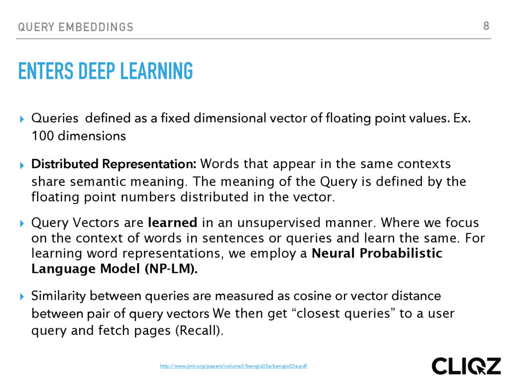 QUERY EMBEDDINGS ENTERS DEEP LEARNING ▸ Queries...