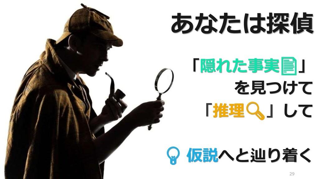 29 「隠れた事実📄」 を見つけて 「推理🔍」して 💡 仮説へと辿り着く あなたは探偵