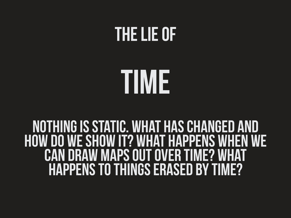 The lie of time nothing is static. what has cha...