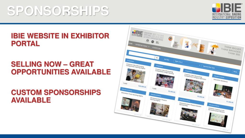 SPONSORSHIPS IBIE WEBSITE IN EXHIBITOR PORTAL S...